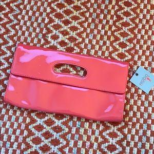NEW Pink Poppy patent leather HOBO Katrina clutch